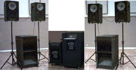 The KODJ Setup with extra Speakers, KODJ Kiosk System for Searching for Music to be played by the DJ and no lights